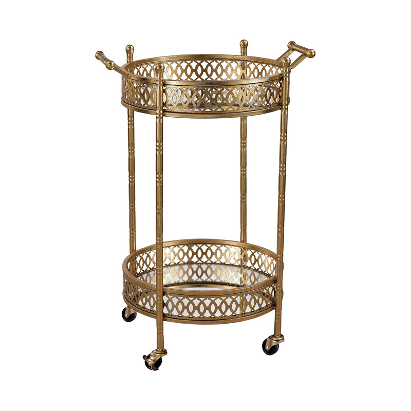 Banded Round Bar Cart - Gold Leaf