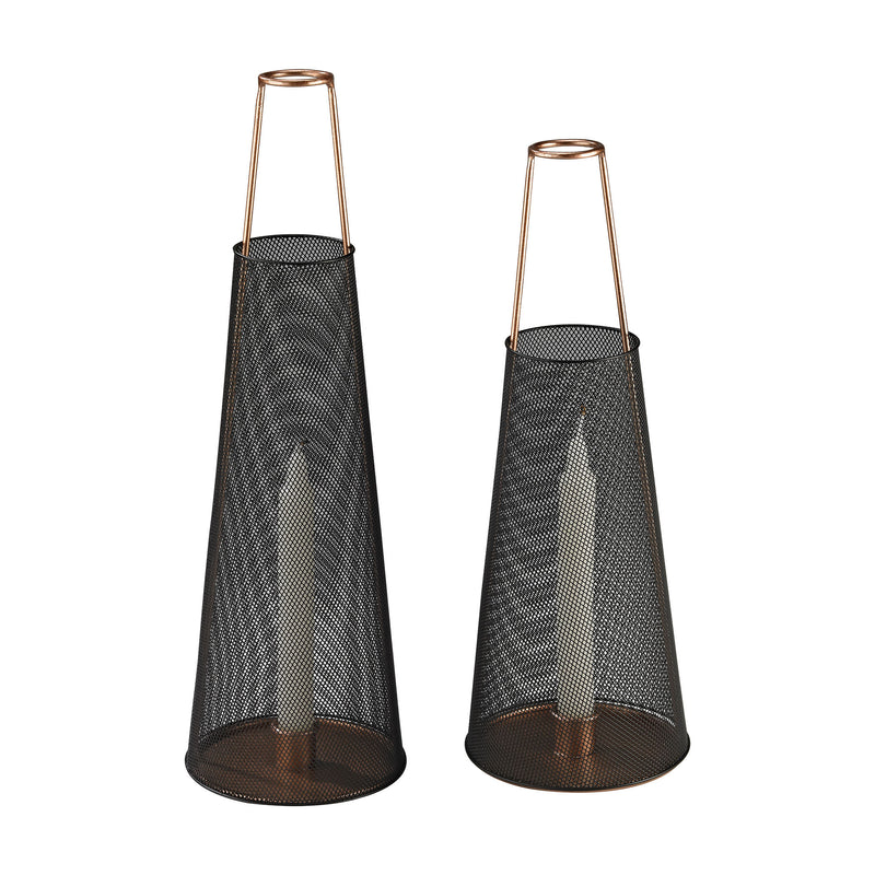 Dusk Candle Holders In Black And Copper - Set Of 2 - Black