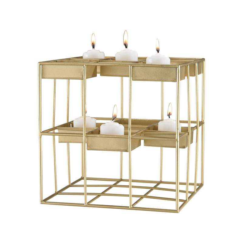 Plaza Gold Leaf 9-Inch Metal Candle Holder - Gold Leaf