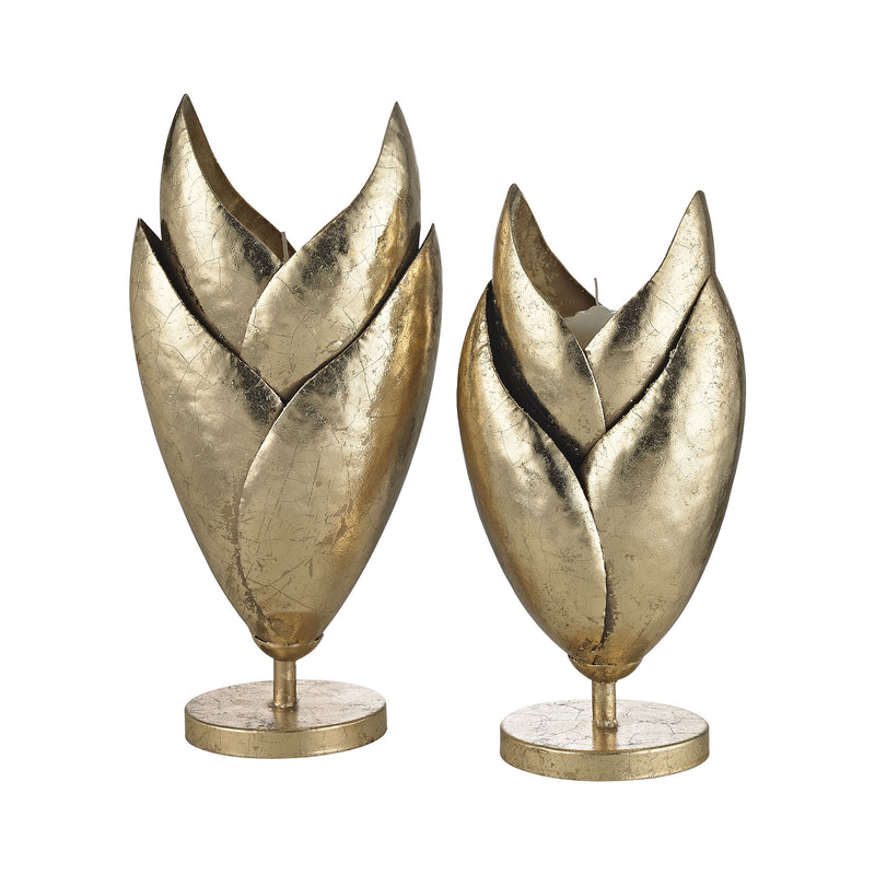 Honeychaff Candle Holders In Gold Leaf - Set Of 2 - Gold Leaf