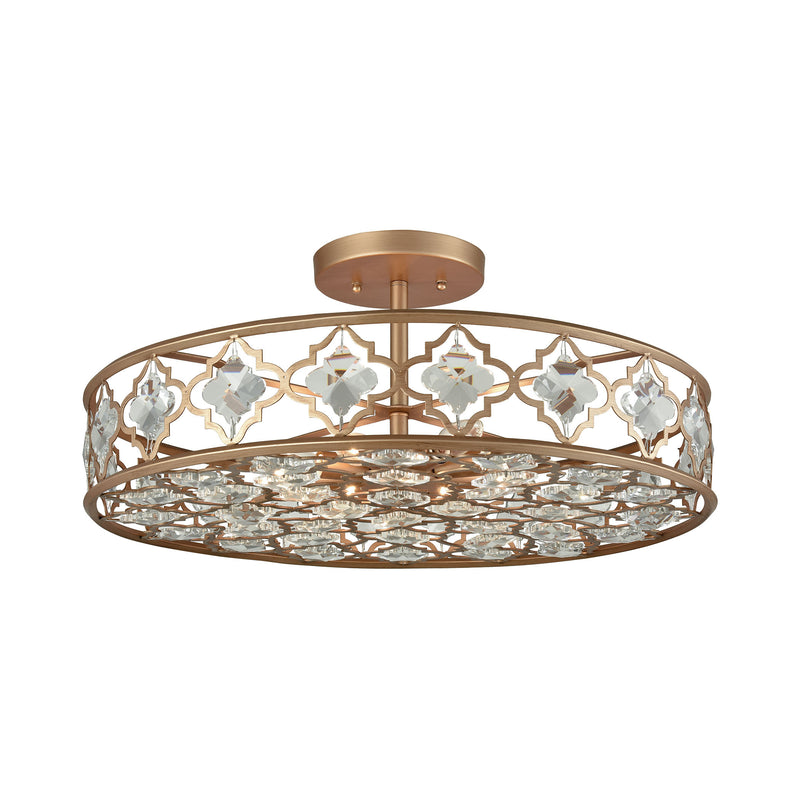 Armand 8 Light Semi Flush In Matte Gold With Clear Crystal - Matte Gold