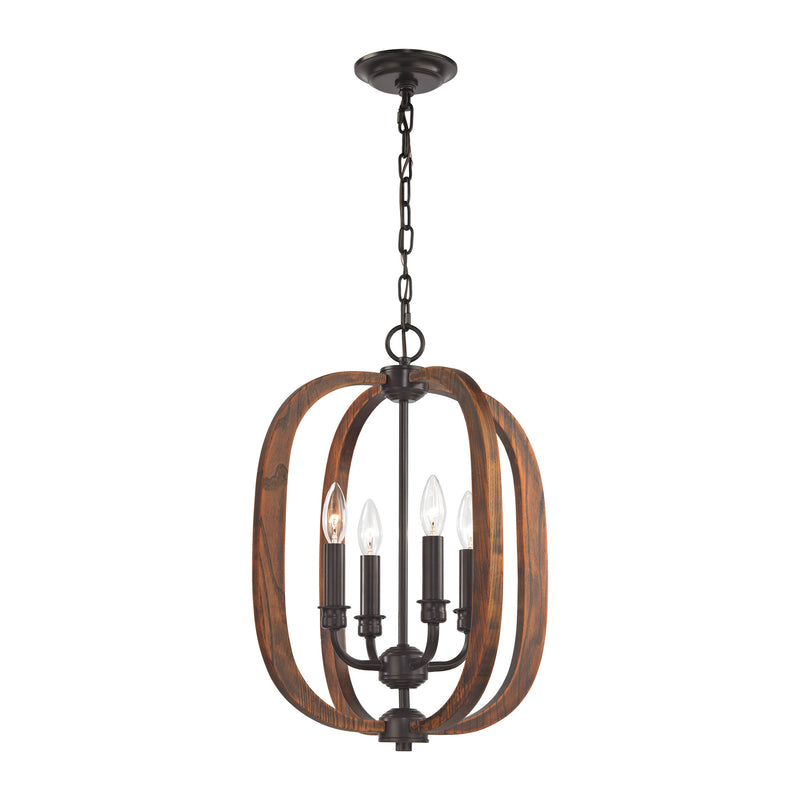 Wood Arches 4 Light Chandelier In Oil Rubbed Bronze - Oil Rubbed Bronze,Red Oak