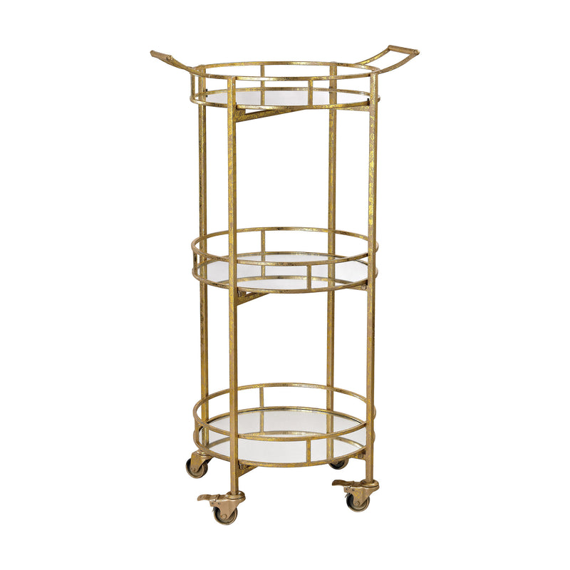 Gold Leaf Bar Cart - Gold