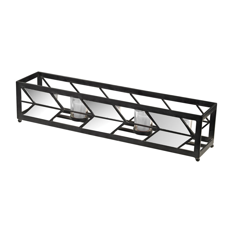 Mirrored Arrow Tea Light Holder - Black