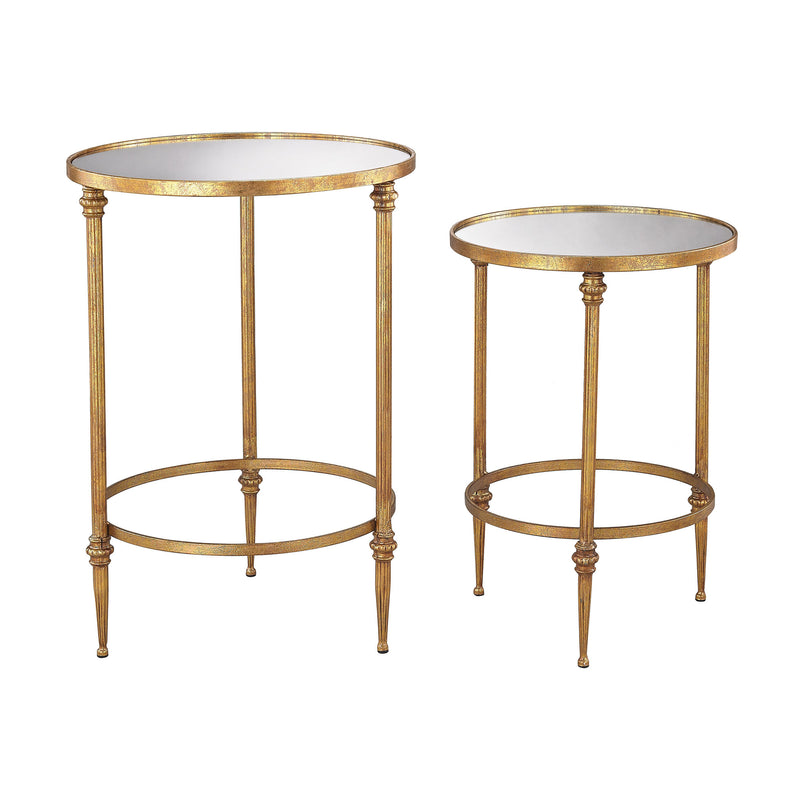 Alcazar Accent Tables In Antique Gold And Mirror - Antique Gold