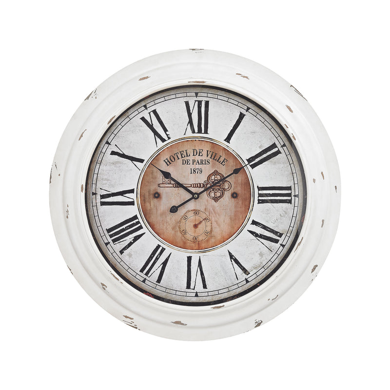 Theodore Wall Clock In Antique White - Antique White