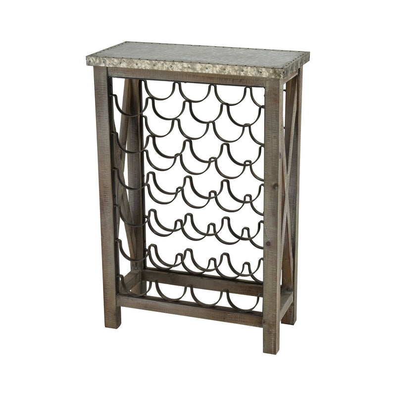 Klad Wine Rack - SALVAGED GREY OAK WITH GALVANIZED STEEL