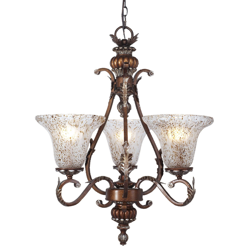 PANTHERA 3-LIGHT CHANDELIER IN SILVER STONE BRONZE - Silver Stone Bronze