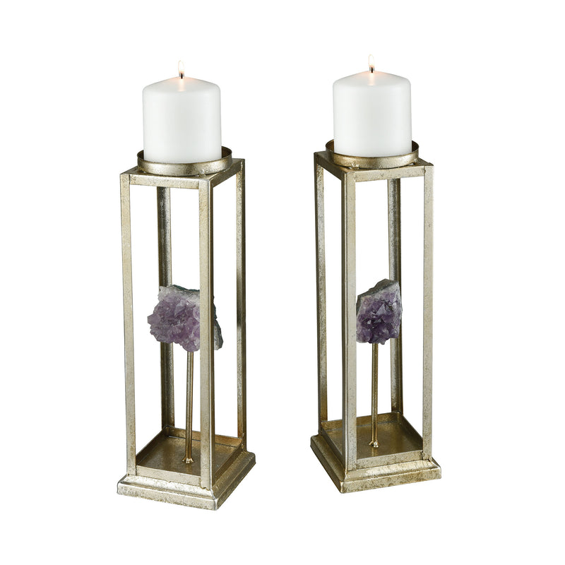 Ekaterina Candle Holders - Purple Geode