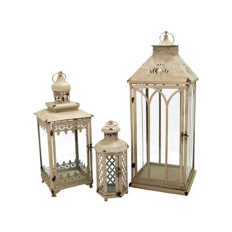 Hathaway Set Of 3 Nesting Lanterns - Antique Parchment