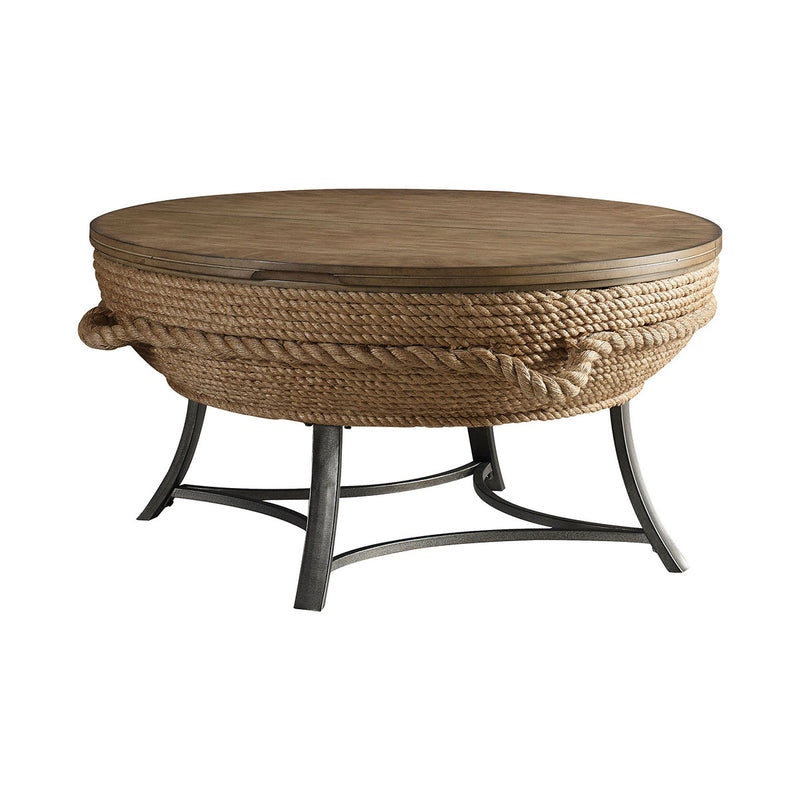 Crescent Key Lift-Top Cocktail Table in Wrapped Rope