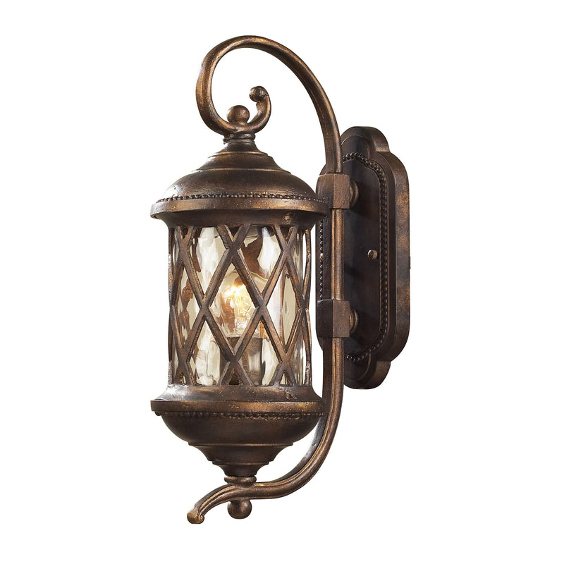 Barrington Gate 1 Light Outdoor Sconce In Hazlenut Bronze And Designer Water Glass - Hazlenut Bronze