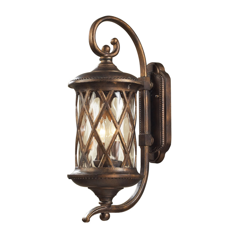 Barrington Gate 2 Light Outdoor Sconce In Hazlenut Bronze And Designer Water Glass - Hazlenut Bronze