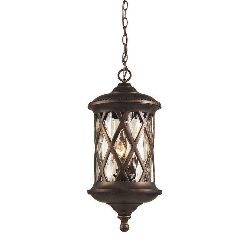 Barrington Gate 3 Light Outdoor Pendant In Hazlenut Bronze And Designer Water Glass - Hazlenut Bronze