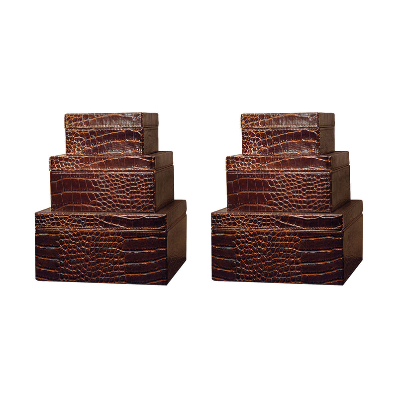 Alligator Set of 6 Square Boxes: 2 Each Size - Brown