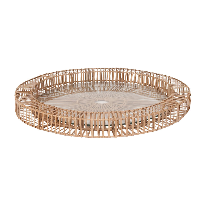 Natural Split Rattan Spoke Tray lg - Natural