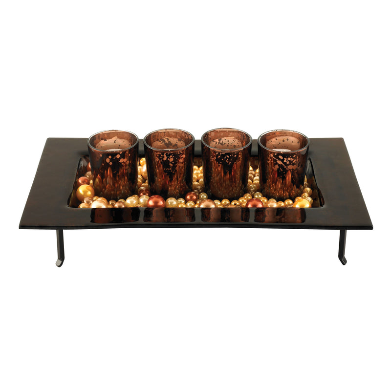 SET/4 RECTANGULAR VOTIVES AND TRAY -