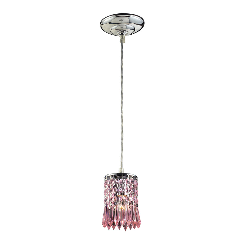 OPTIX COLLECTION 1-LIGHT PENDANT WITH ROSE CRYSTAL - POLISHED CHROME