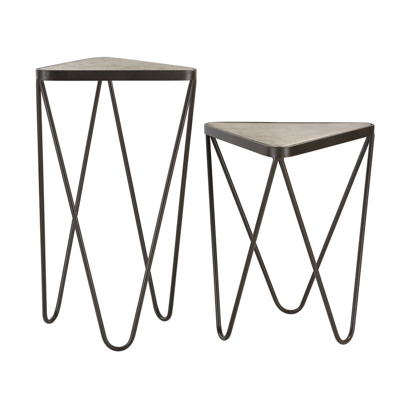 Angular Side Tables - Set of 2 - Antique Silver