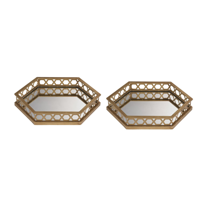 Ribbed Hexagonal Mirrored Trays - Set of 2 - Gold