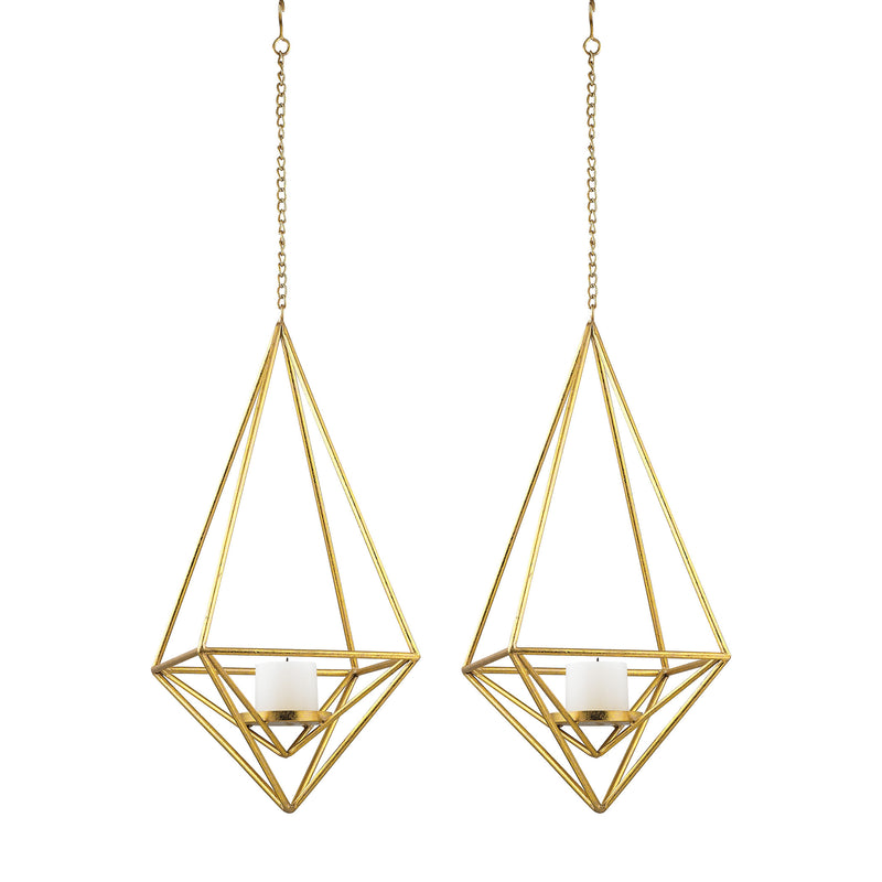 Angular Study Tea Light Mini Pendants - Set of 2 - Gold