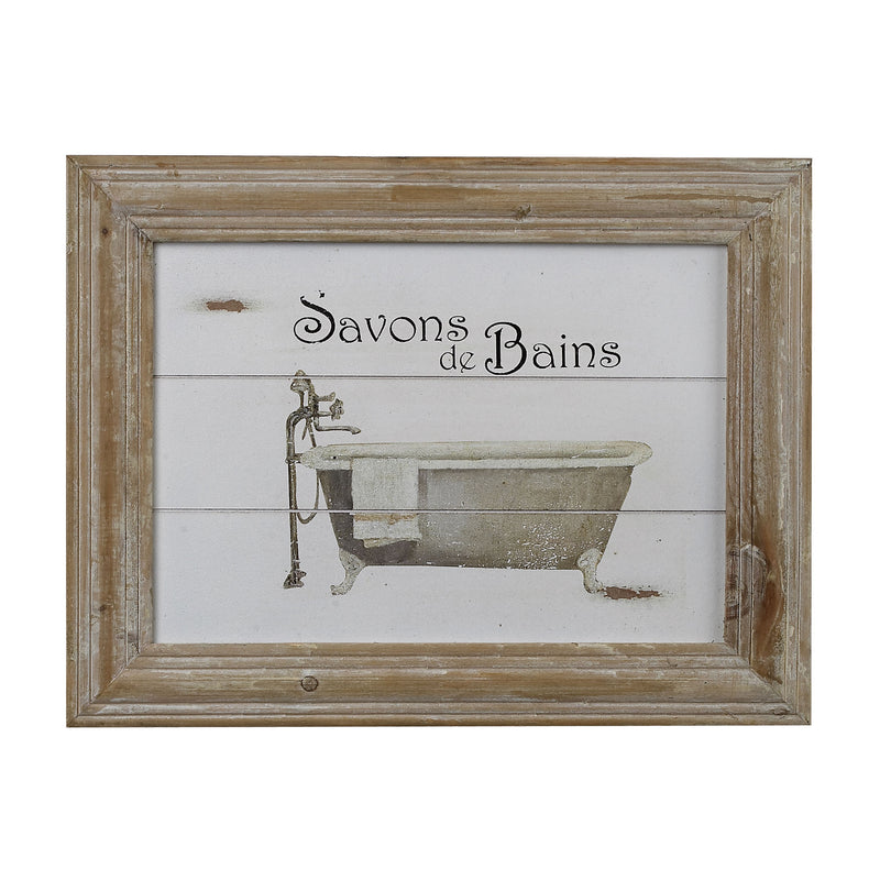 SAVON DE BAINS PICTURE IN WOODEN FRAME - WASHED PINE