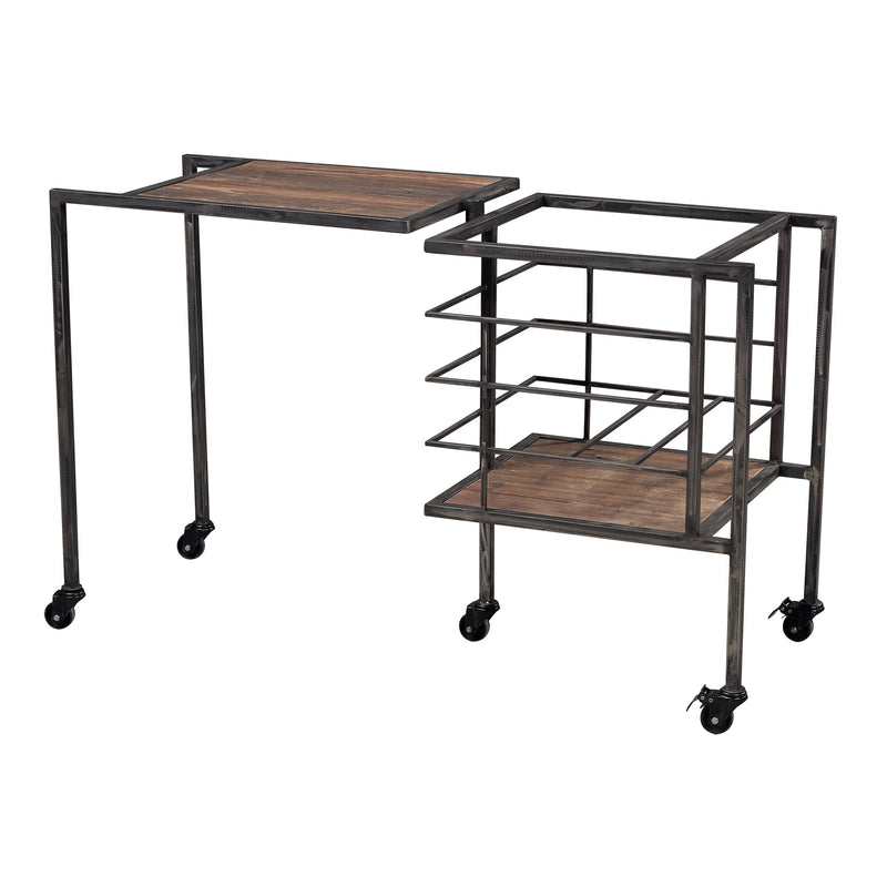 INDUSTRIAL FOLD AWAY STORAGE BENCH - RESTORATION BLACk / STAINED WOOD