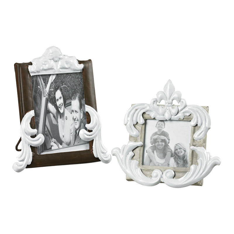 SET OF 2 PICTURE FRAMES - RICHLAND GREY / BRONZE WITH WHITE