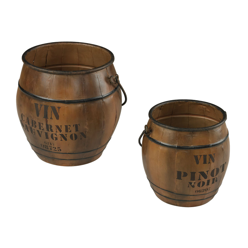 SET OF 2 WINE CULTURE BINS - Stained Wood Tone With Iron Accents
