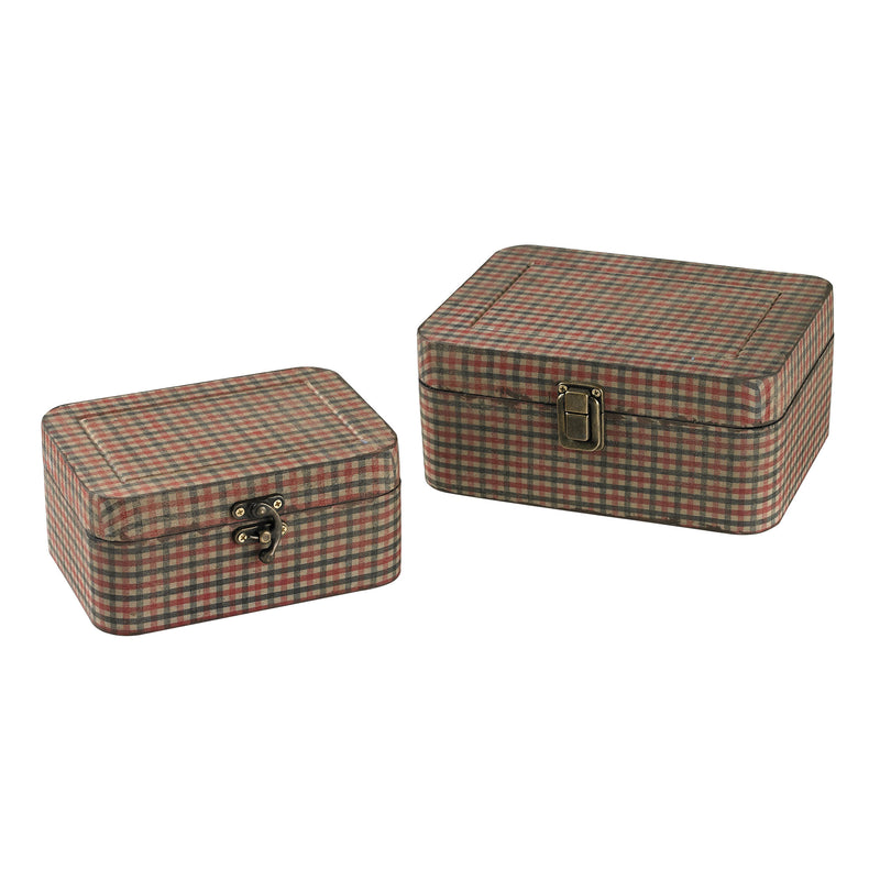 SET OF 2 GINGHAM WRAPPED BOXES - Antique Gingham