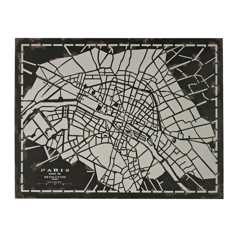 LASER CUT MAP OF PARIS CIRCA 1790 - RESTORATION BLACk
