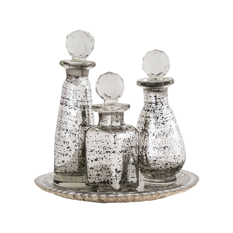 Daphne Tray and Bottle Set - Antique Silver