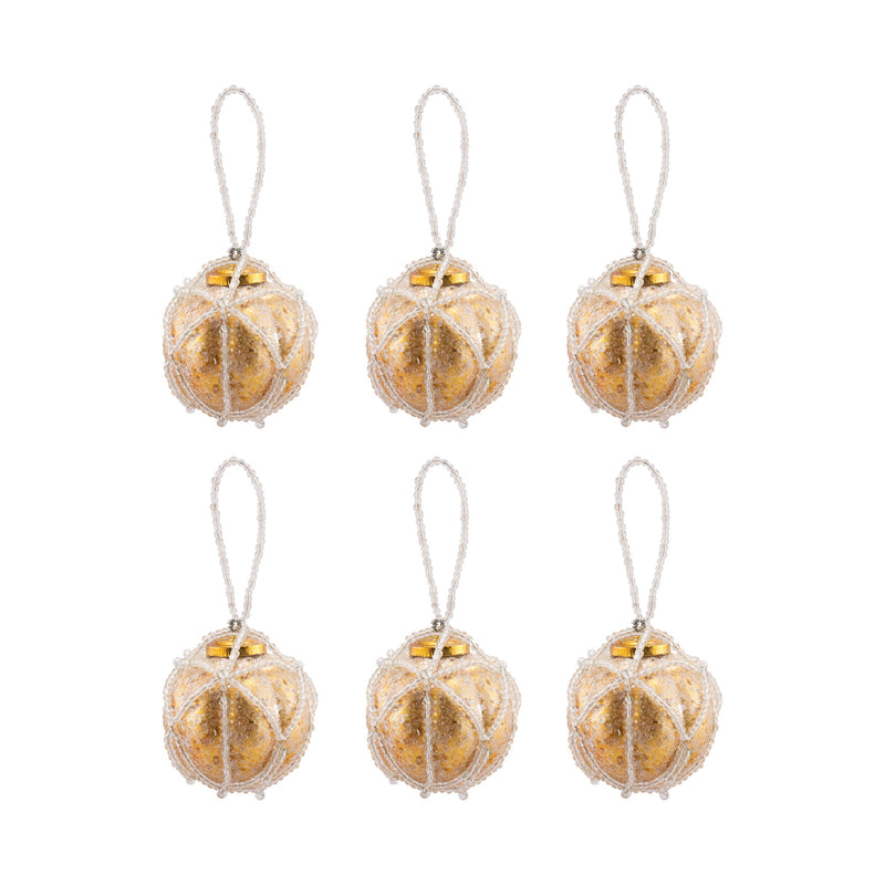 Beaded Ornaments Set - Optic Round - Gold