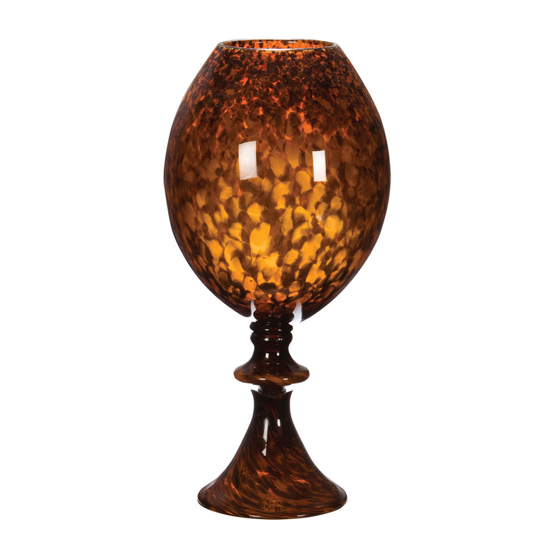 Tortoise Globe Vase with Foot - Brown