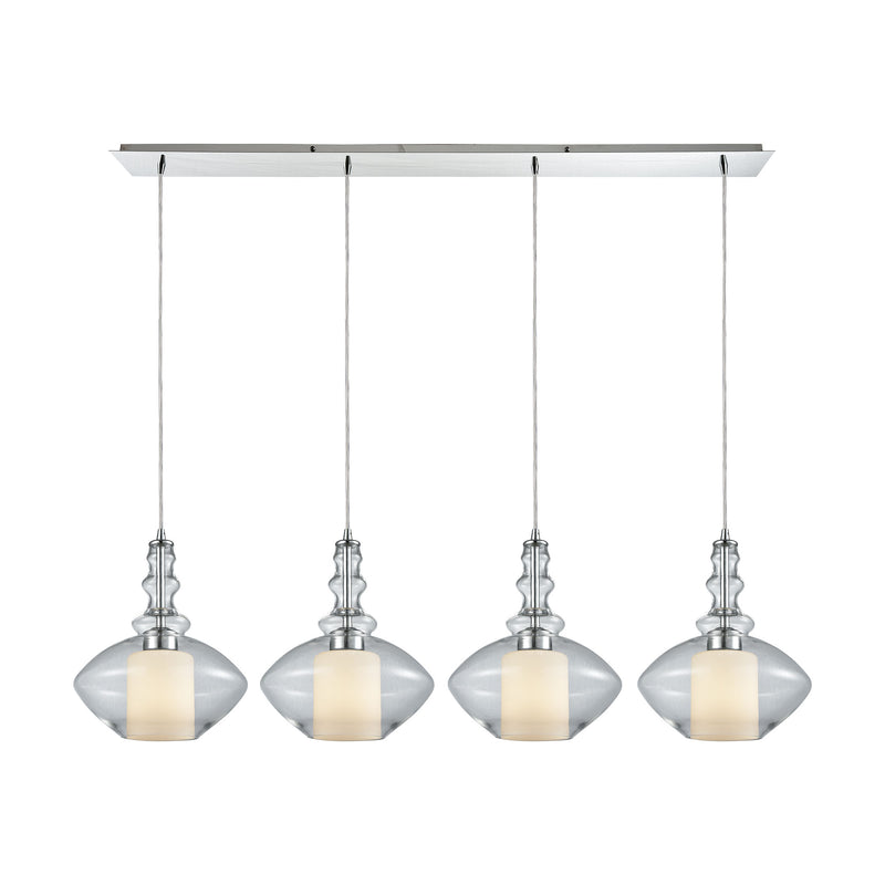 Alora 4 Light Linear Pan Pendant In Polished Chrome With Opal White Glass Inside Clear Glass - Polished Chrome