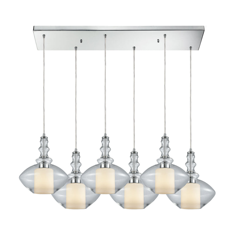 Alora 6 Light Rectangle Pendant In Polished Chrome With Opal White Glass Inside Clear Glass - Polished Chrome