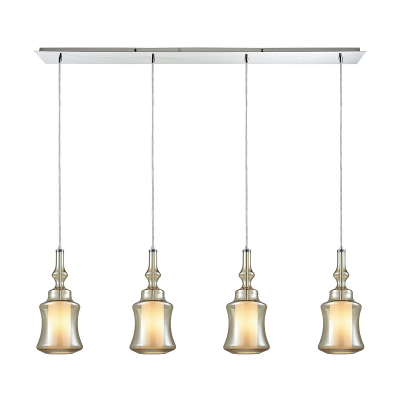 Alora 4 Light Linear Pan Pendant In Polished Chrome With Opal White Glass Inside Champagne Plated Glass - Polished Chrome