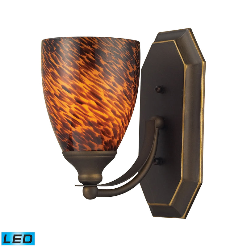 Bath And Spa 1 Light LED Vanity In Aged Bronze And Espresso Glass - Aged Bronze