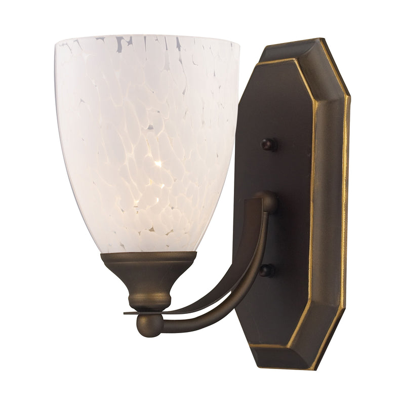 Bath And Spa 1 Light Vanity In Aged Bronze And Snow White Glass - Aged Bronze