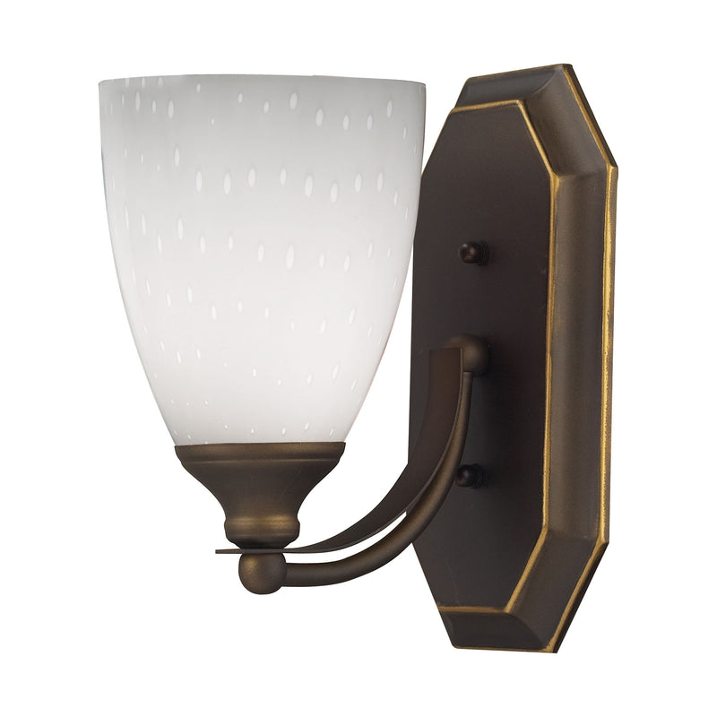 Bath And Spa 1 Light Vanity In Aged Bronze And Simple White Glass - Aged Bronze