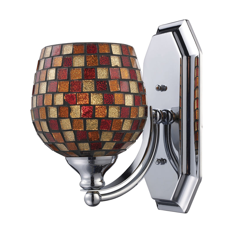 Bath And Spa 1 Light Vanity In Polished Chrome And Multi Fusion Glass - Polished Chrome
