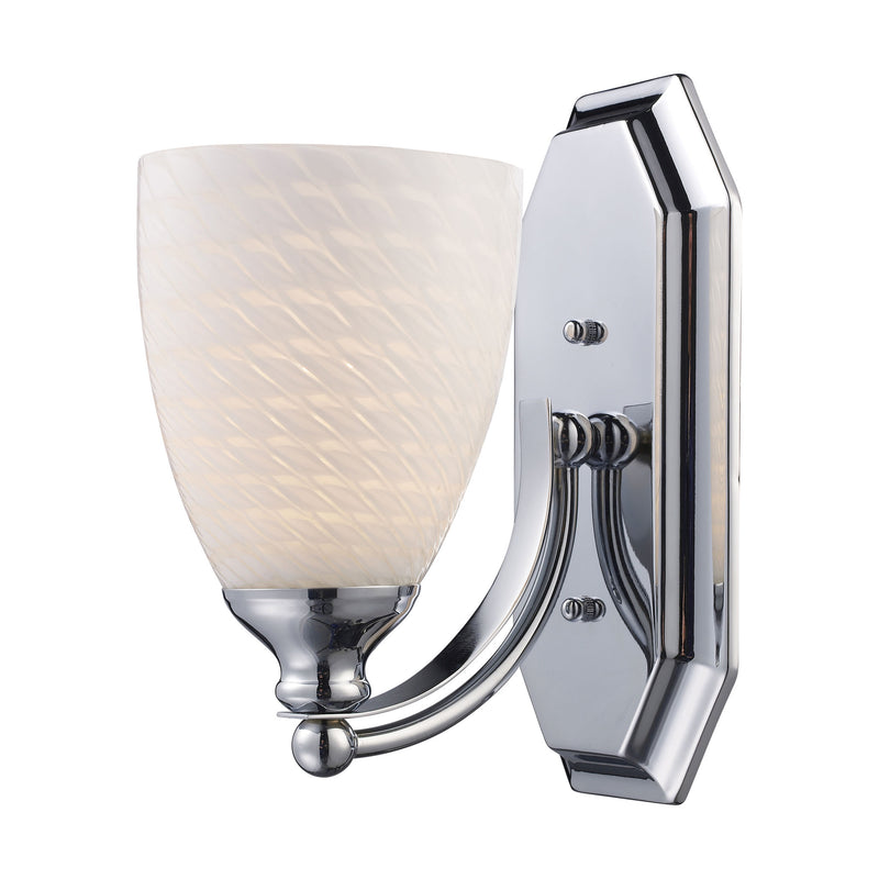 Bath And Spa 1 Light Vanity In Polished Chrome And White Swirl Glass - Polished Chrome