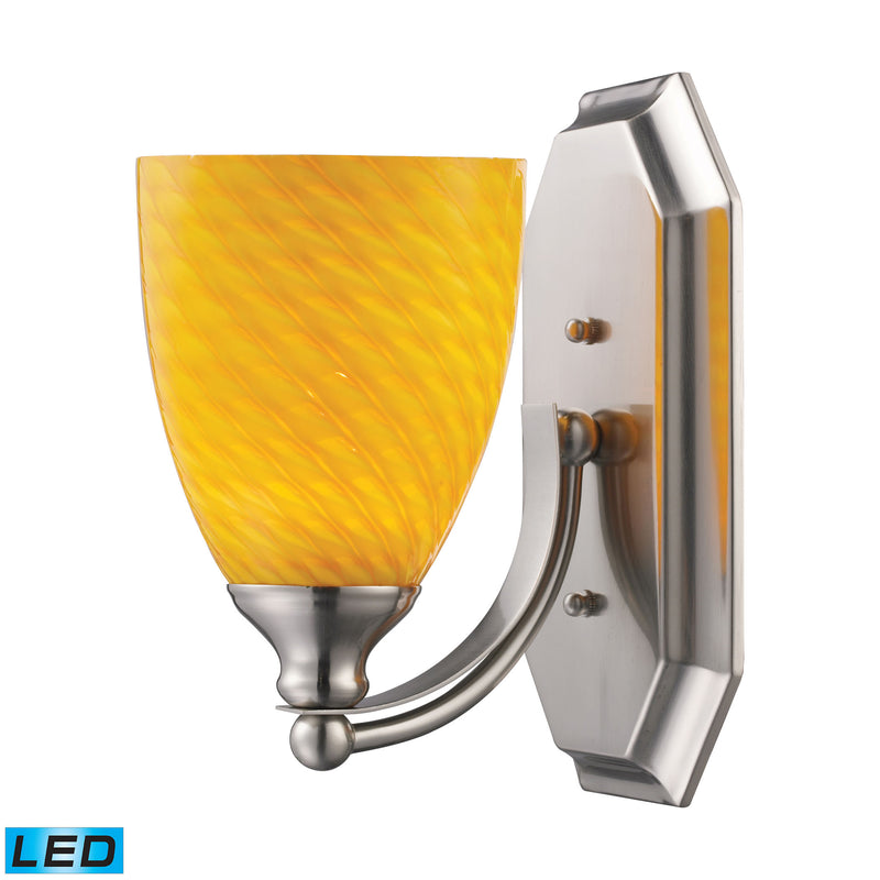 Bath And Spa 1 Light LED Vanity In Satin Nickel And Canary Glass - Satin Nickel