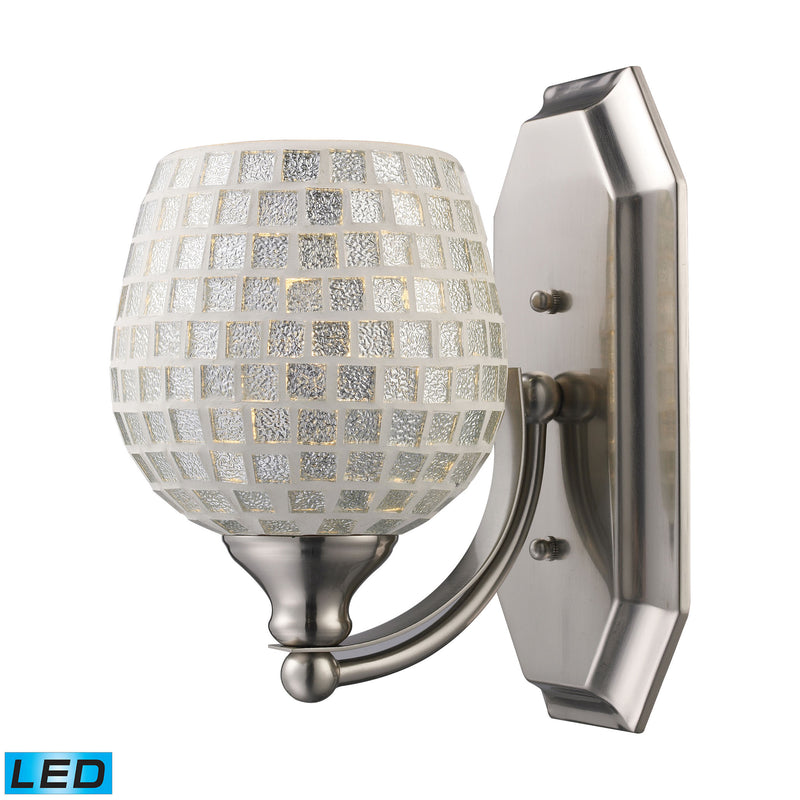 Bath And Spa 1 Light LED Vanity In Satin Nickel And Silver Glass - Satin Nickel