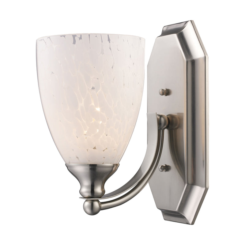 Bath And Spa 1 Light Vanity In Satin Nickel And Snow White Glass - Satin Nickel