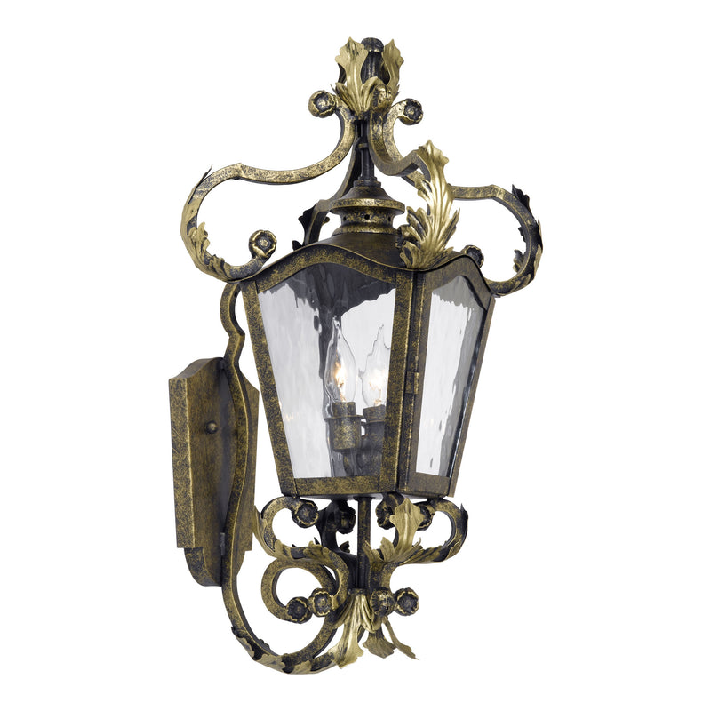 Acadiana Outdoor Wall Lantern In Castle Bronze And Water Glass - Castle Bronze