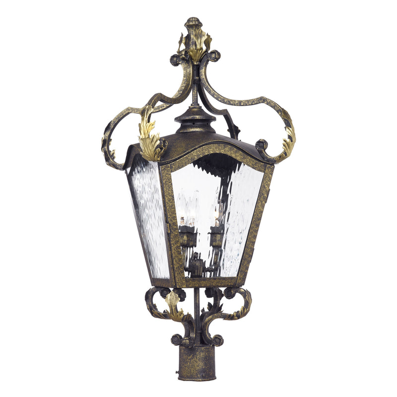 Acadiana Outdoor Post Lantern In Castle Bronze And Water Glass - Castle Bronze