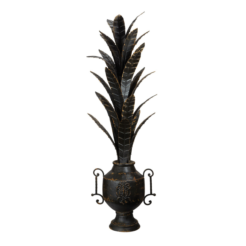 Aged Black Metal Foliage Urn. Black