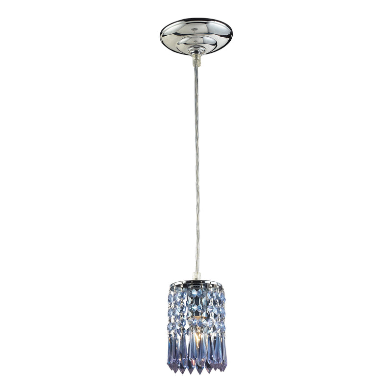 OPTIX COLLECTION 1-LIGHT PENDANT WITH PURPLE CRYSTAL - POLISHED CHROME