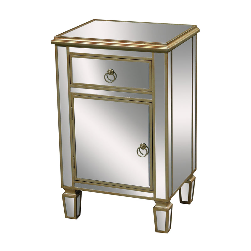 Broadway Cabinet In Clear Mirror And Champagne Silver Leaf - Champagne Silver Leaf